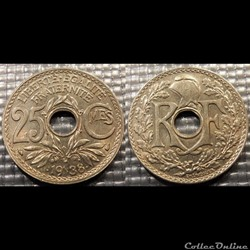 Fe 25 centimes EM Lindauer .1938. 24mm 4g
