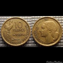 Le 10 francs Guiraud 1957 20mm 3g
