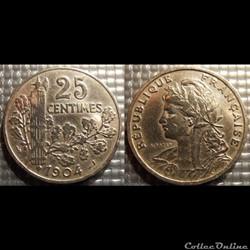 Fb 25 centimes Patey, faisceau 1904 24mm 7g