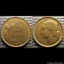 Le 10 francs Guiraud 1951 20mm 3g