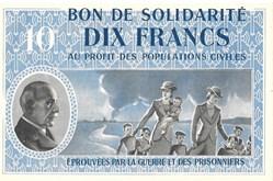 a0- Bon de solidarité DIX FRANCS Pétain