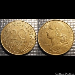 Ef 20 centimes Marianne 1974 23.5mm 4g