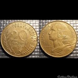 Ef 20 centimes Marianne 1974 23.5mm 4g