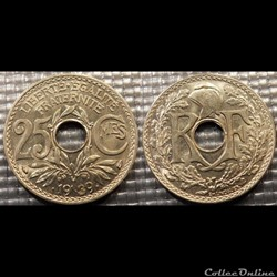 Fe 25 centimes EM Lindauer .1939. 24mm 4g