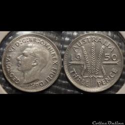 Australie 3 Pence 1950