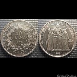 Lf 10 francs Hercule 1972 37mm 25g