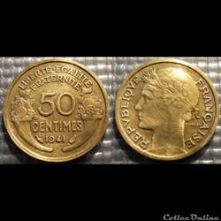 Gc 50 centimes Morlon 1941 18mm 2g