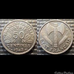 Gd 50 centimes Bazor 1943 18mm 0.7g faib...