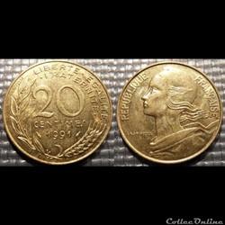 Ef 20 centimes Marianne 1991 23.5mm 4g