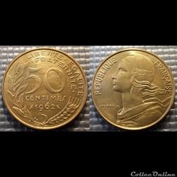 Gk 50 centimes Marianne 1962 25mm 7g