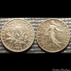 Ga 50 centimes Semeuse 1913 18mm 2.5g