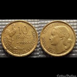 Le 10 francs Guiraud 1955 20mm 3g