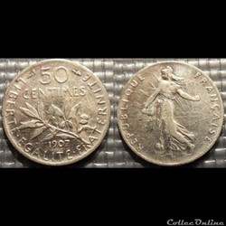 Ga 50 centimes Semeuse 1907 18mm 2.5g