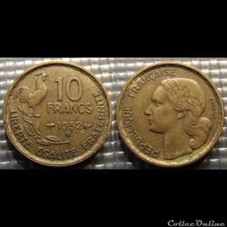 Le 10 francs Guiraud 1952 B 20mm 3g