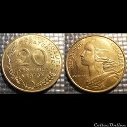 Ef 20 centimes Marianne 1978 23.5mm 4g