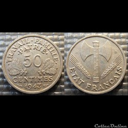 Gd 50 centimes Bazor 1943 B 18mm 0.7g fa...