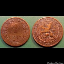 Pays Bas 1 cent 1882 variété 10 bouclier...
