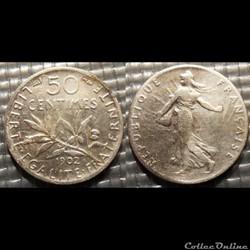 Ga 50 centimes Semeuse 1902 18mm 2.5g
