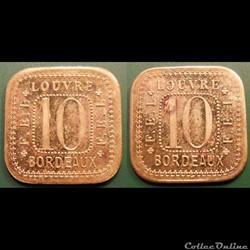 p- MN Bordeaux 10 (Cent) laiton Elie: 145.2 Louvre, F.E.L.