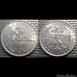 Allemagne 3 Mark 1922A
