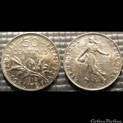 Ga 50 centimes Semeuse 1918 18mm 2.5g