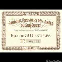 Produits Forestiers des Landes Bon pour 50 Centimes