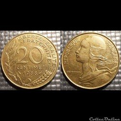 Ef 20 centimes Marianne 1988 23.5mm 4g