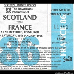 Rugby Ecosse France 1986