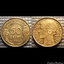 Gc 50 centimes Morlon 1931 18mm 2g