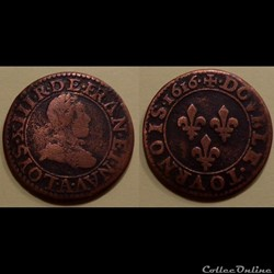 G1 Louis XIII Paris Double Tournois 1616...