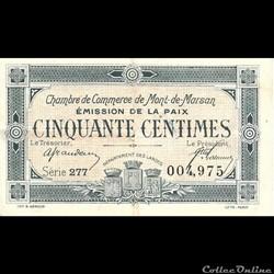 F1 50Cent Chambre de Commerce de Mont de Marsan Emission de la Paix avec 1921 au verso