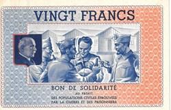 a0- Bon de solidarité VINGT FRANCS  Péta...