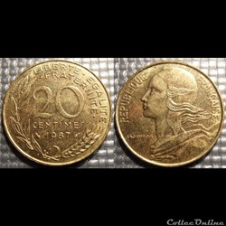 Ef 20 centimes Marianne 1987 23.5mm 4g