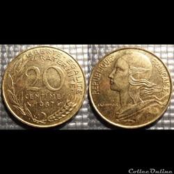Ef 20 centimes Marianne 1987 23.5mm 4g