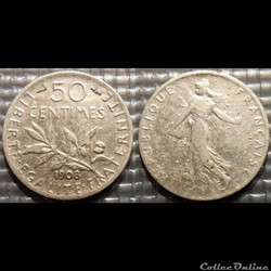 Ga 50 centimes Semeuse 1908 18mm 2.5g