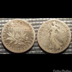Ga 50 centimes Semeuse 1899 18mm 2.5g