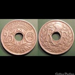 Fd 25 centimes EM Lindauer 1923 24mm 5g décalage Av/Rev 15°