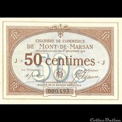 billet france banque xxe a1 50c chambre de commerce de mont de marsan deliberation du 1 decembre 1914