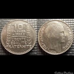 La 10 francs Turin 1938 28mm 10g