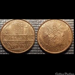 Lg 10 francs Mathieu 1974 26mm 10g