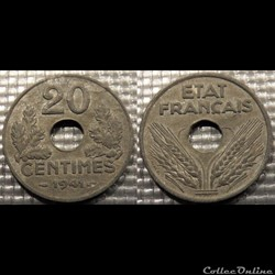 Eb 20 centimes Etat Français 1941 24mm 3.5g