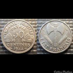 Gd 50 centimes Bazor 1944 C 18mm 0.7g fa...