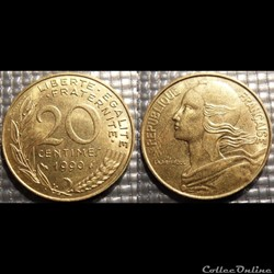 Ef 20 centimes Marianne 1990 23.5mm 4g