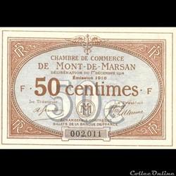 B1 50Cent Chambre de Commerce de Mont de Marsan Délibération du 1 décembre 1914 Emission 1916