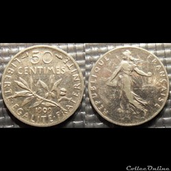 Ga 50 centimes Semeuse 1909 18mm 2.5g