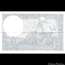 10 Francs Bleu ou Minerve