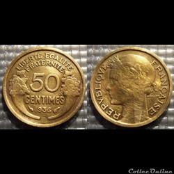 Gc 50 centimes Morlon 1936 18mm 2g