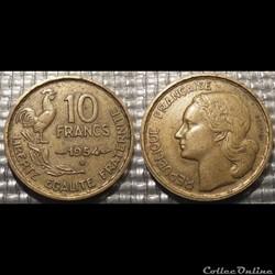 Le 10 francs Guiraud 1954 B 20mm 3g