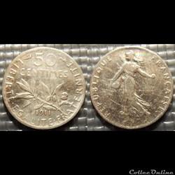 Ga 50 centimes Semeuse 1911 18mm 2.5g