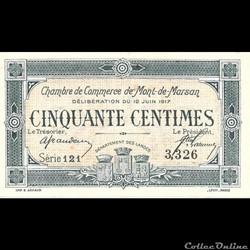 C1 50Cent Chambre de Commerce de Mont de Marsan Délibération du 12 juin 1917
